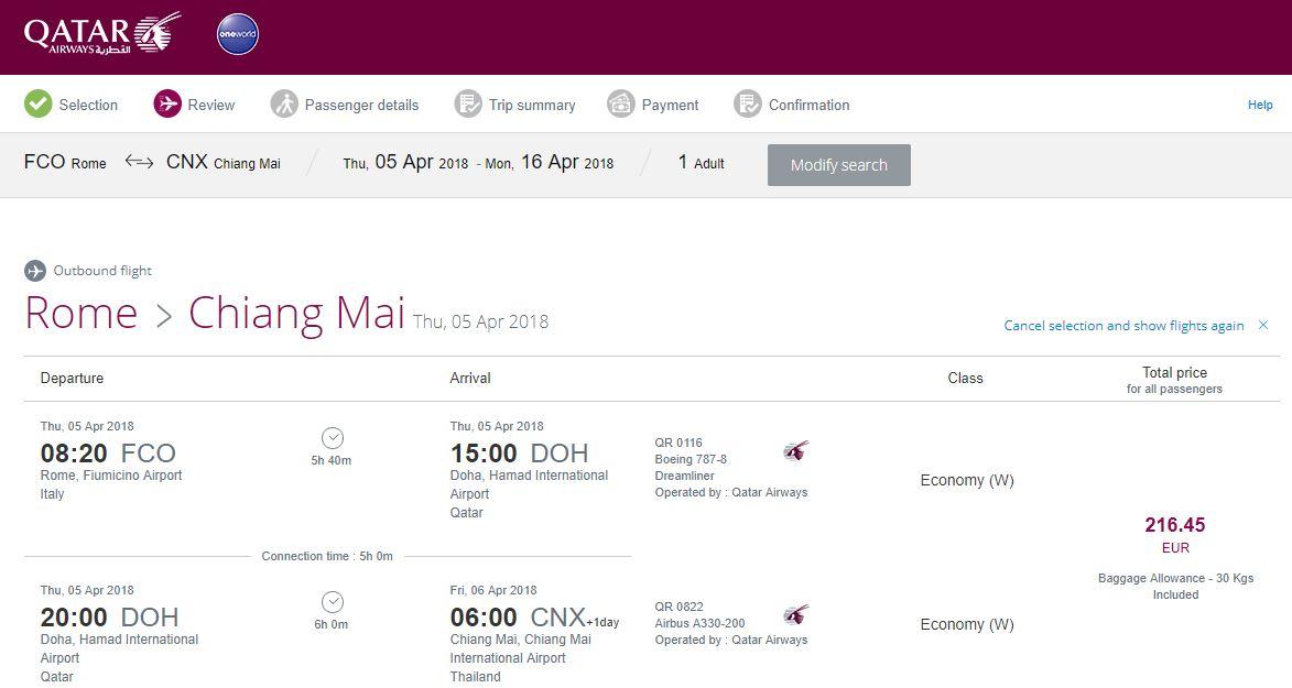 Rome-Chiang-Mai-Qatar